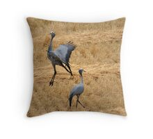 Blue crane dance Throw Pillow