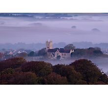 Church in the fog at sunrise Photographic Print