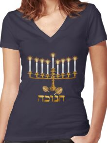 Golden Hanukkah Women's Fitted V-Neck T-Shirt
