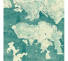 Hong Kong Map Blue Vintage by HubertRoguski
