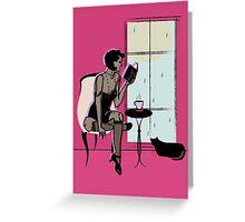 Gatsby Summer Rain Reading  Greeting Card
