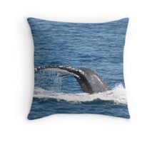 Fluke Up Dive - Humpback Whale Throw Pillow