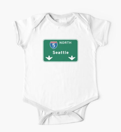 Seattle, WA Road Sign One Piece - Short Sleeve