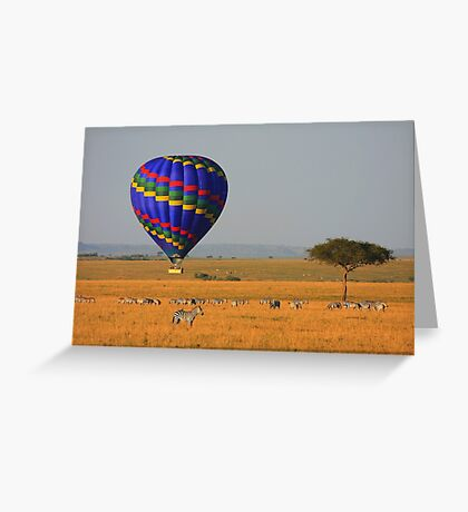 Hot Air Balloon Over the African Plains Greeting Card