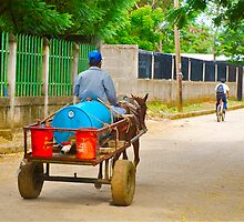 Horse drawn cart moving through the streets of Casares, Nicaragua by thebigmozey