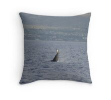 Female Humpback Tail Slap Throw Pillow