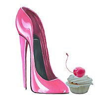 Pink Stiletto Shoe and Cupcake Photographic Print