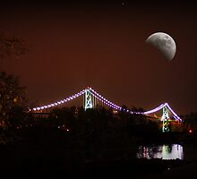 Lions Gate Bridge Vancouver at Moonlight by AnnDixon
