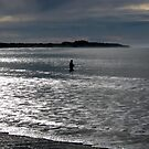 Lone fisherman at Fisherman's Beach, Torquay, Victoria by Crystallographix