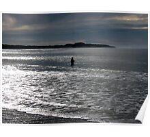Lone fisherman at Fisherman's Beach, Torquay, Victoria Poster