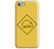 Wombats Crossing, Traffic Warning Sign, Australia iPhone Case/Skin