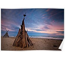 Two Coloured Teepees Poster