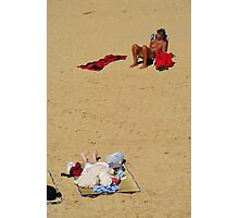 Enjoying the Sun, St Jean de Luz, France Photographic Print