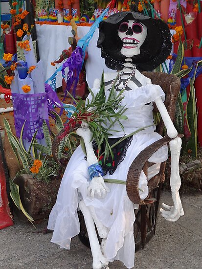 Catrina sitting at a altar for dead persons by Bernhard Matejka