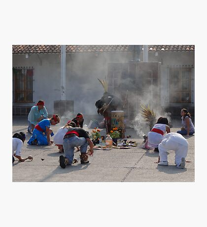 Praying and offering incense - Indian Ceremony Photographic Print