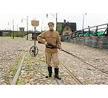Soldier with  gun in retro style picture Photographic Print