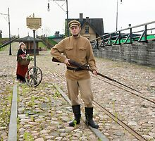 Lady and soldier with  gun in retro style picture by fotorobs