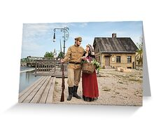 Couple of lady and soldier in retro style picture Greeting Card
