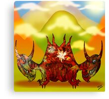 Pencil Dragons and Clouds Canvas Print