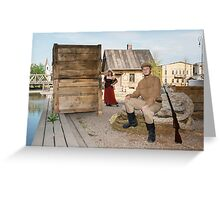 Lady and soldier with  gun in retro style picture Greeting Card