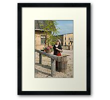 Retro style picture with lady. Framed Print