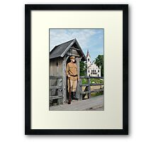 Retro style picture with soldier at sentry. Framed Print