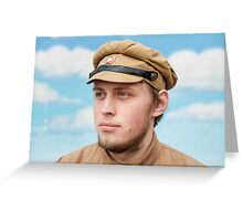 Portrait of soldier in retro style picture Greeting Card