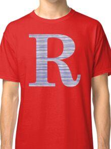 Letter R Blue Watercolor Stripes Monogram Initial Classic T-Shirt