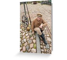 Retro style picture with resting soldier. Greeting Card