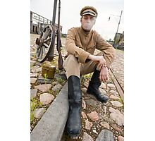 Retro style picture with smoking soldier. Photographic Print
