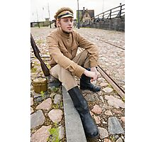 Retro style picture with resting soldier. Photographic Print
