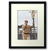 Retro style picture with smoking soldier. Framed Print