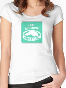 Lake Superior Circle Tour, Traffic Sign Women's Fitted Scoop T-Shirt