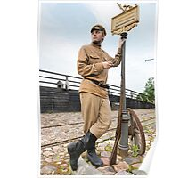 Retro style picture with soldier at tram stop. Poster