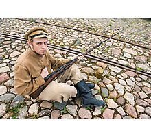 Soldier with boiler and gun in retro style picture Photographic Print