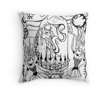 Mermaid and Fire Eaters Throw Pillow