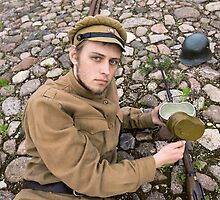 Soldier with boiler and gun in retro style picture by fotorobs