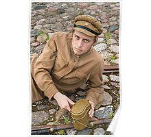 Soldier with boiler and gun in retro style picture Poster