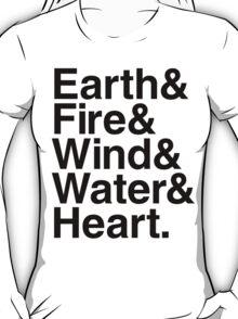Earth&Fire&Wind&Water&Heart (Black) T-Shirt