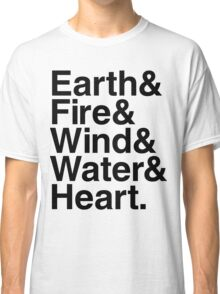 Earth&Fire&Wind&Water&Heart (Black) Classic T-Shirt
