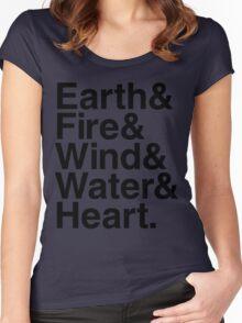 Earth&Fire&Wind&Water&Heart (Black) Women's Fitted Scoop T-Shirt