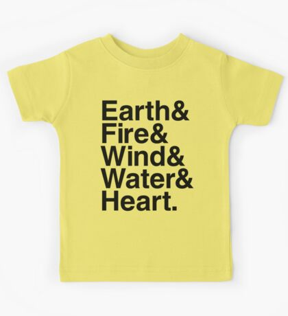 Earth&Fire&Wind&Water&Heart (Black) Kids Clothes