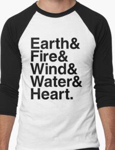 Earth&Fire&Wind&Water&Heart (Black) Men's Baseball ¾ T-Shirt