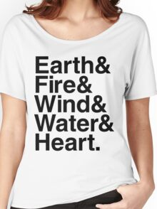 Earth&Fire&Wind&Water&Heart (Black) Women's Relaxed Fit T-Shirt