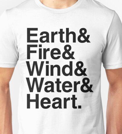 Earth&Fire&Wind&Water&Heart (Black) Unisex T-Shirt