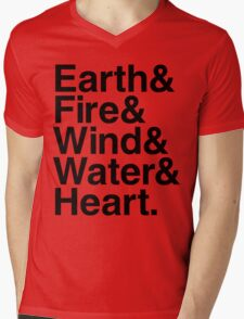 Earth&Fire&Wind&Water&Heart (Black) Mens V-Neck T-Shirt