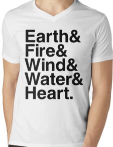 Earth&Fire&Wind&Water&Heart (Black) Mens V-Neck T-Shirt