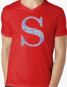 Letter S Blue Watercolor Stripes Monogram Initial Mens V-Neck T-Shirt