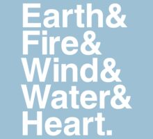 Earth&Fire&Wind&Water&Heart (White) Kids Clothes