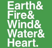 Earth&Fire&Wind&Water&Heart (White) One Piece - Short Sleeve